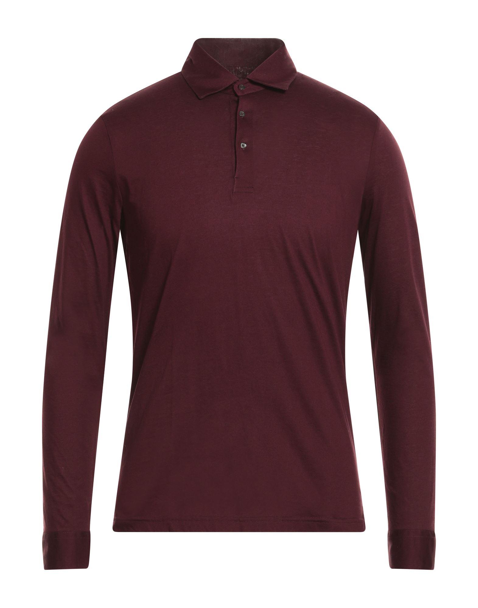 《送料無料》BAGUTTA メンズ ポロシャツ ボルドー S コットン 100%
