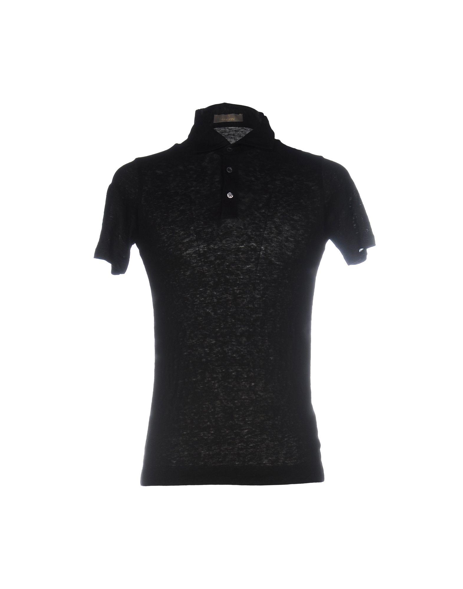 《送料無料》CRUCIANI メンズ ポロシャツ ブラック 52 麻 100%