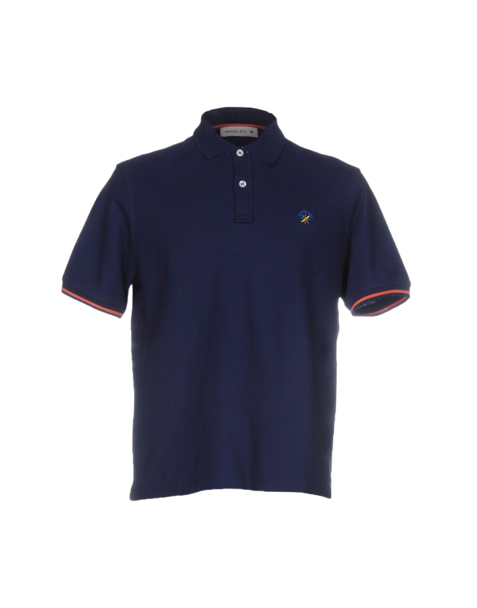 《送料無料》MANUEL RITZ メンズ ポロシャツ ダークブルー S コットン 100%