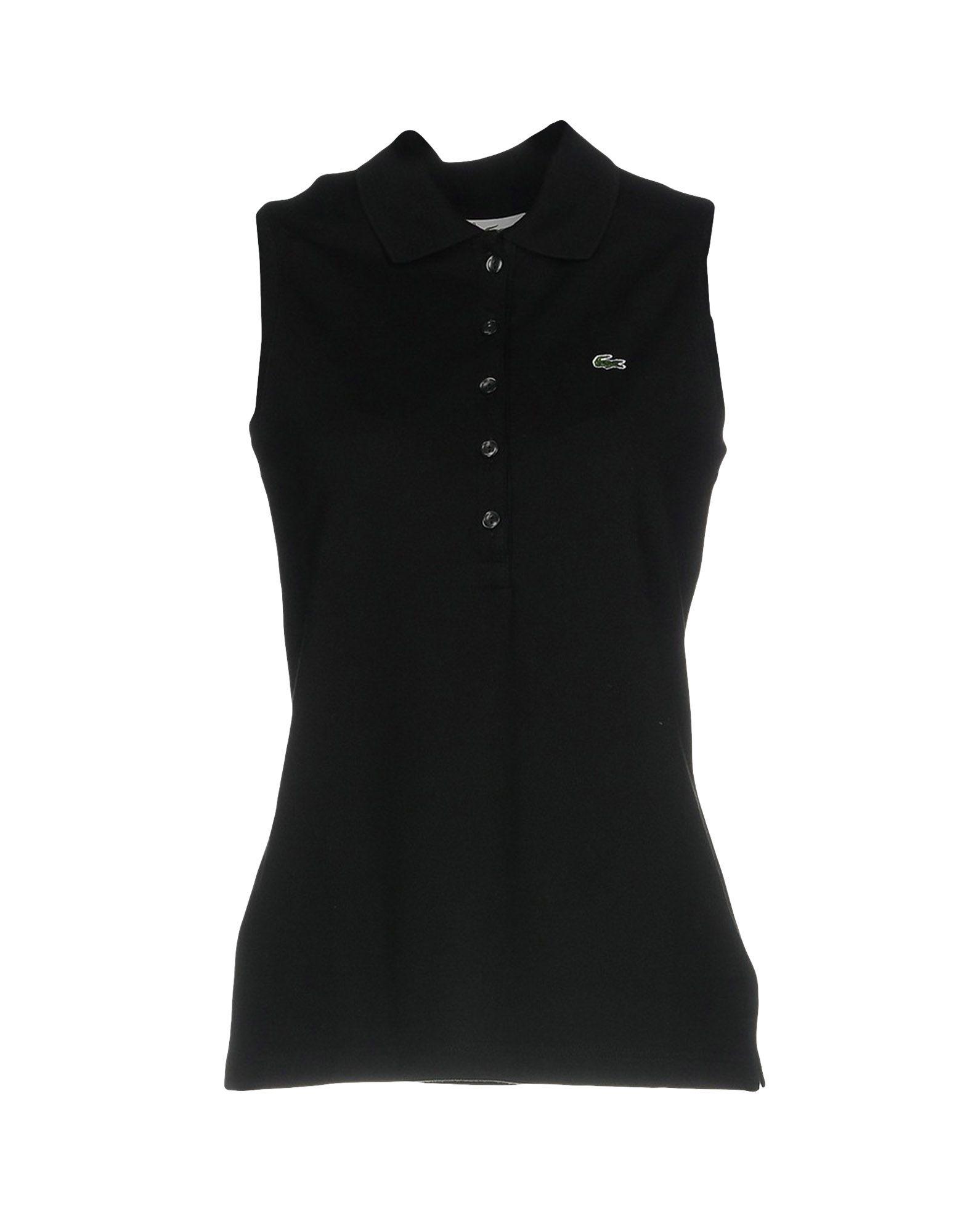 《送料無料》LACOSTE レディース ポロシャツ ブラック 40 コットン 94% / ポリウレタン 6%