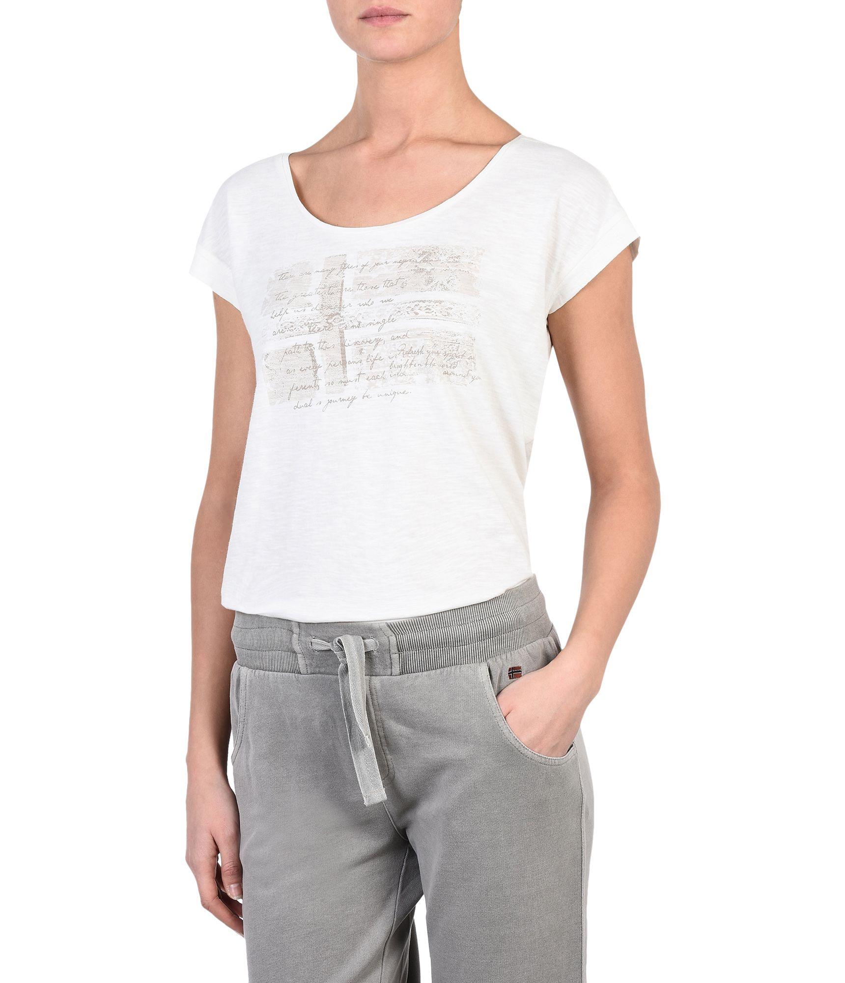 Artikel klicken und genauer betrachten! - Kurzarm-T-Shirt mit Rundhalsausschnitt Nach vorne verlegte Schulternähte Umgeschlagene Ärmelabschlüsse Grafikelemente Signaturdetails | im Online Shop kaufen