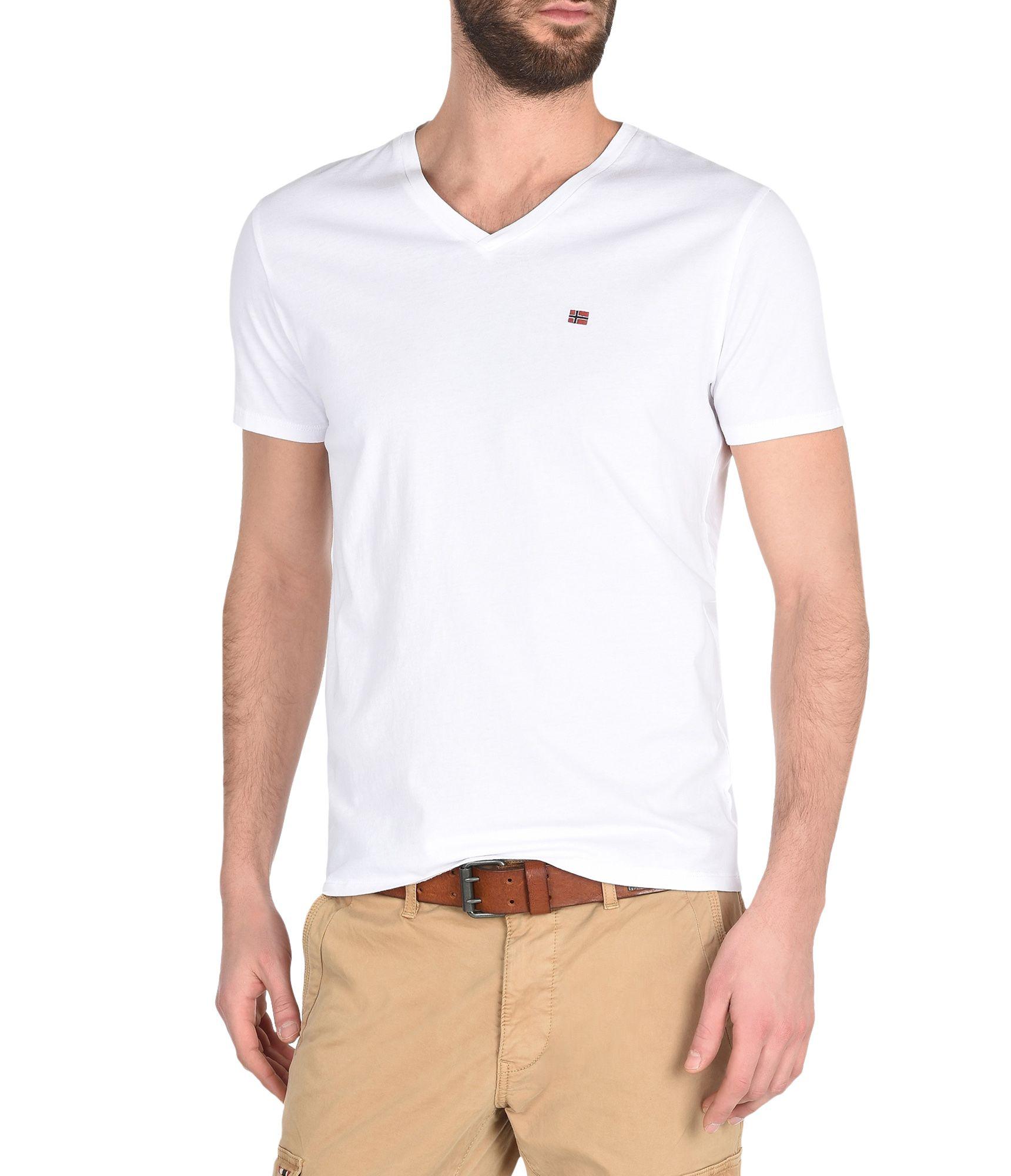 Artikel klicken und genauer betrachten! - T-Shirt mit V-Ausschnitt und kurzen Ärmeln Vintage-Effektbehandlung Grafikelemente | im Online Shop kaufen