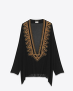 SAINT LAURENT Tops and Blouses D embroidered kaftan blouse in black and gold silk georgette f