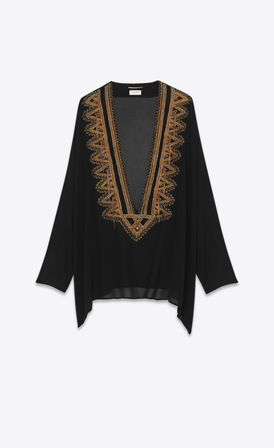 SAINT LAURENT Tops and Blouses Woman embroidered kaftan blouse in black and gold silk georgette a_V4