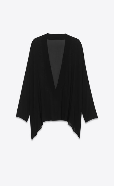 SAINT LAURENT Tops and Blouses Woman embroidered kaftan blouse in black and gold silk georgette b_V4