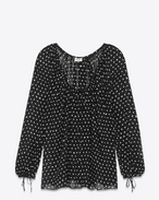 SAINT LAURENT Tops and Blouses D lipstick dots oversized peasant blouse in black and white silk georgette f