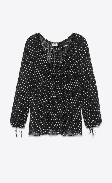 SAINT LAURENT Tops et blouses D blouse paysanne oversize à imprimé pois lipstick en georgette de soie blanche et noire a_V4