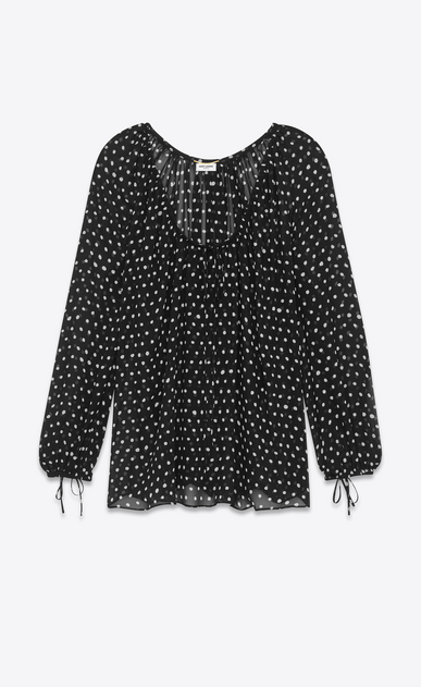 SAINT LAURENT Tops and Blouses D lipstick dots oversized peasant blouse in black and white silk georgette v4