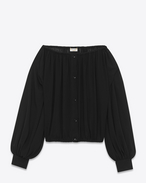 SAINT LAURENT Tops and Blouses D Black Bateau Neckline Peasant Blouse f