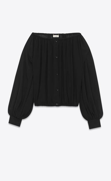 SAINT LAURENT Tops and Blouses D bateau neckline peasant blouse in black silk georgette v4