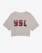 SAINT LAURENT T-Shirt and Jersey D Washed Pink Short Sleeve YSL USA Cropped T-shirt f