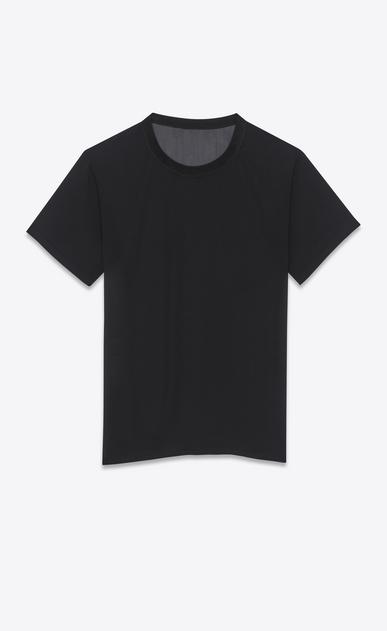 SAINT LAURENT T-Shirt and Jersey D classic short sleeve semi-sheer t-shirt in black silk georgette v4