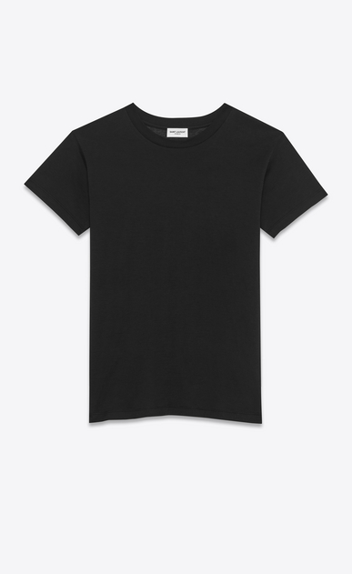 SAINT LAURENT T-Shirt and Jersey D short sleeve fitted t-shirt in black cotton jersey a_V4