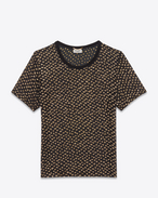 SAINT LAURENT T-Shirt and Jersey D polka dot short sleeve sheer t-shirt in black and gold plumetis f