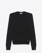 SAINT LAURENT Cashmere Tops U Black Ultrafine Cashmere Crewneck Sweater f