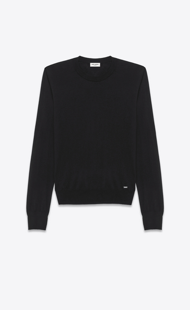 SAINT LAURENT Cashmere Tops U Black Ultrafine Cashmere Crewneck Sweater a_V4