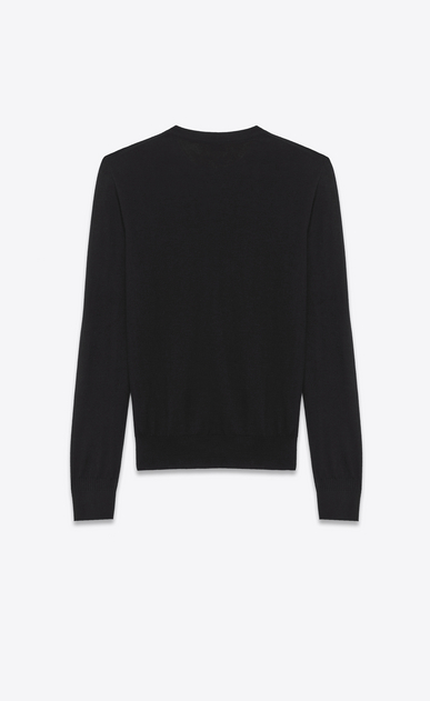 SAINT LAURENT Cashmere Tops U Black Ultrafine Cashmere Crewneck Sweater b_V4