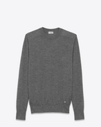 SAINT LAURENT Cashmere Tops U Heather Grey Ultrafine Cashmere Crewneck Sweater f