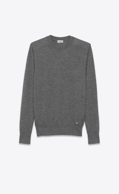 SAINT LAURENT Cashmere Tops U Heather Grey Ultrafine Cashmere Crewneck Sweater a_V4