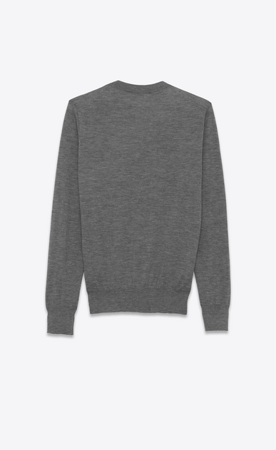 SAINT LAURENT Cashmere Tops U Heather Grey Ultrafine Cashmere Crewneck Sweater b_V4