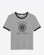 SAINT LAURENT T-Shirt and Jersey U Heather Grey and Black Short Sleeve SAINT LAURENT UNIVERSITÉ Ringer T-Shirt f