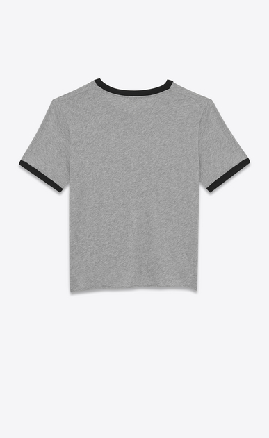SAINT LAURENT T-Shirt and Jersey U Short Sleeve SAINT LAURENT UNIVERSITÉ Ringer T-Shirt in Heather Grey and Black cotton jersey b_V4