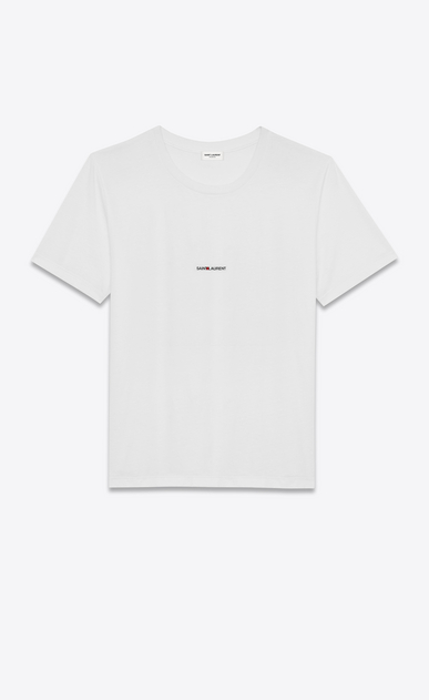 SAINT LAURENT T-Shirt and Jersey Man white short sleeve saint laurent t-shirt in cotton jersey a_V4
