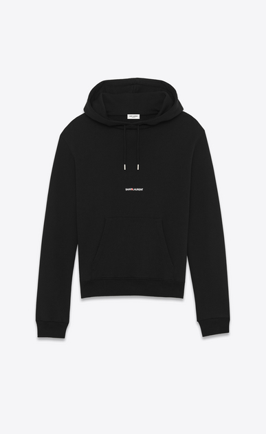 SAINT LAURENT Sportswear Tops U saint laurent signature cropped hoodie in black french terrycloth a_V4