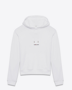SAINT LAURENT Sportswear Tops U saint laurent signature cropped hoodie in white french terrycloth f