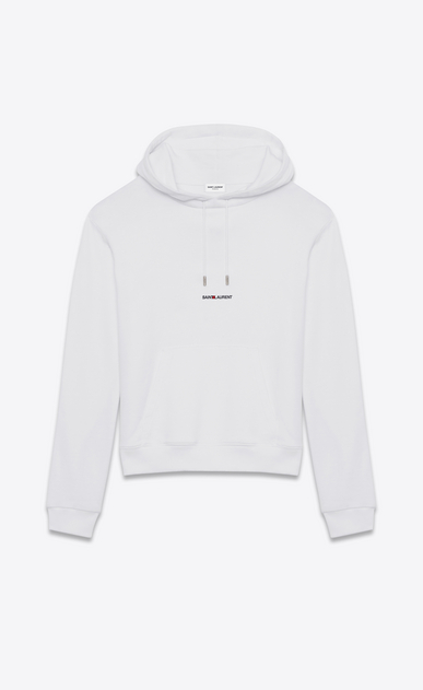SAINT LAURENT Sportswear Tops U saint laurent signature cropped hoodie in white french terrycloth a_V4