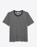 SAINT LAURENT T-Shirt and Jersey U Black and Heather Grey Microstriped Short Sleeve T- Shirt f