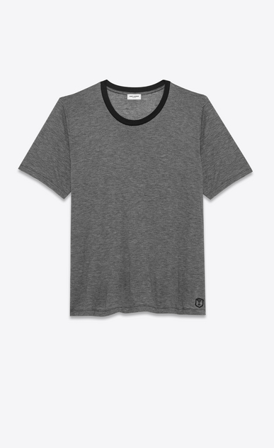 SAINT LAURENT T-Shirt and Jersey U microstriped short sleeve t- shirt in black and heather grey viscose jersey v4