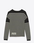"SAINT LAURENT T-Shirt and Jersey U ""smoking forever"" marinière sweater in black and ivory striped cotton jersey f"