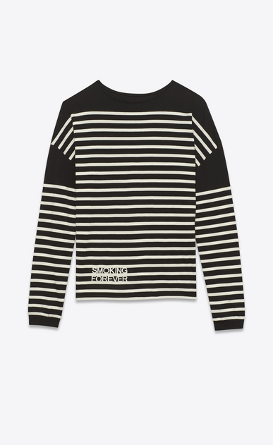 """SAINT LAURENT T-Shirt and Jersey U """"smoking forever"""" marinière sweater in black and ivory striped cotton jersey a_V4"""