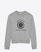 SAINT LAURENT Sportswear Tops U Grau meliertes Sweatshirt mit Saint Laurent UNIVERSITÉ Print f