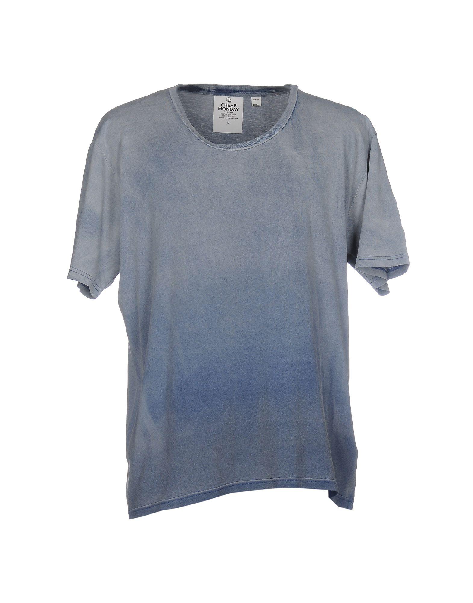 《送料無料》CHEAP MONDAY メンズ T シャツ ブルーグレー L コットン 100%