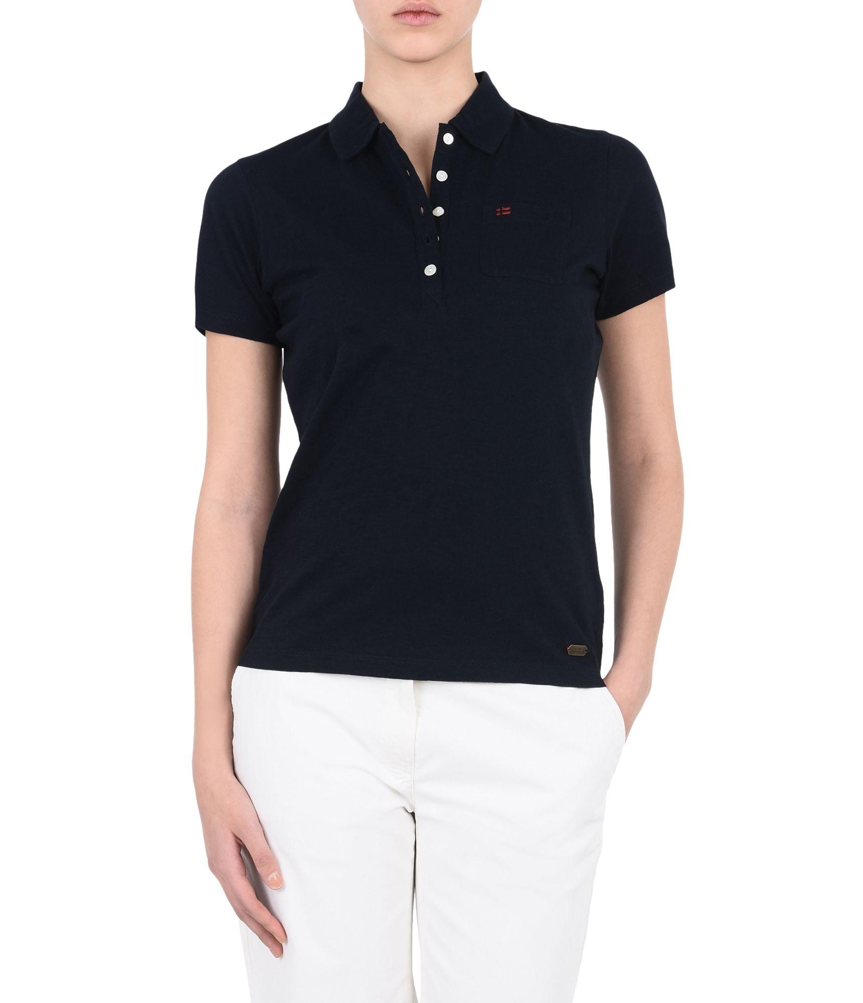Artikel klicken und genauer betrachten! - Polo-Shirt mit kurzen Ärmeln Leichtes Jerseymaterial Schmale Frontknopfleiste Eine Tasche Grafikelemente | im Online Shop kaufen