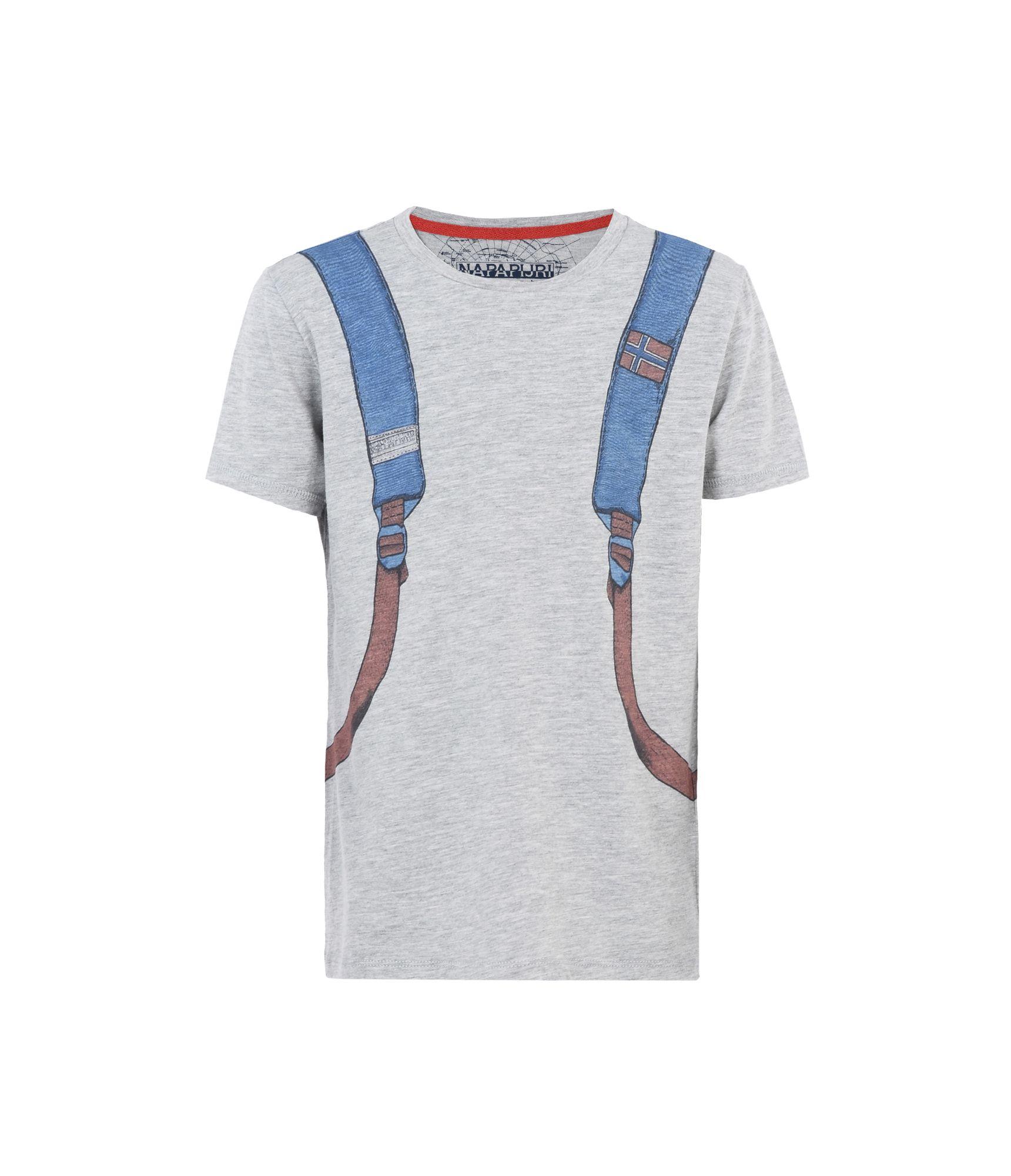 Artikel klicken und genauer betrachten! - Kurzarm-T-Shirt mit Rundhalsausschnitt Rippenstrickkragen Grafikelemente | im Online Shop kaufen