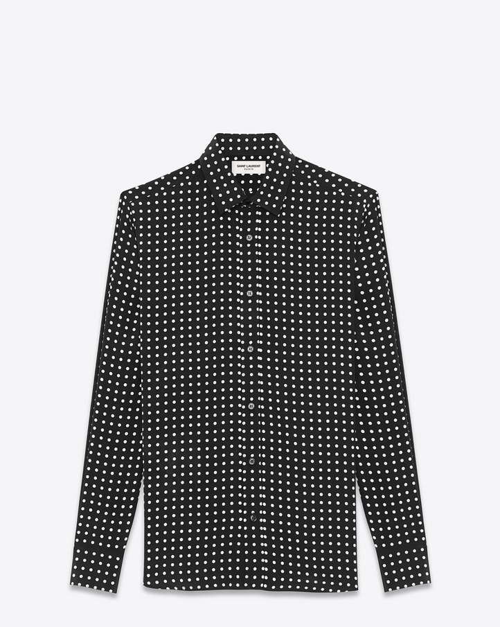 Saint laurent signature yves collar shirt in black and for Yves saint laurent white t shirt