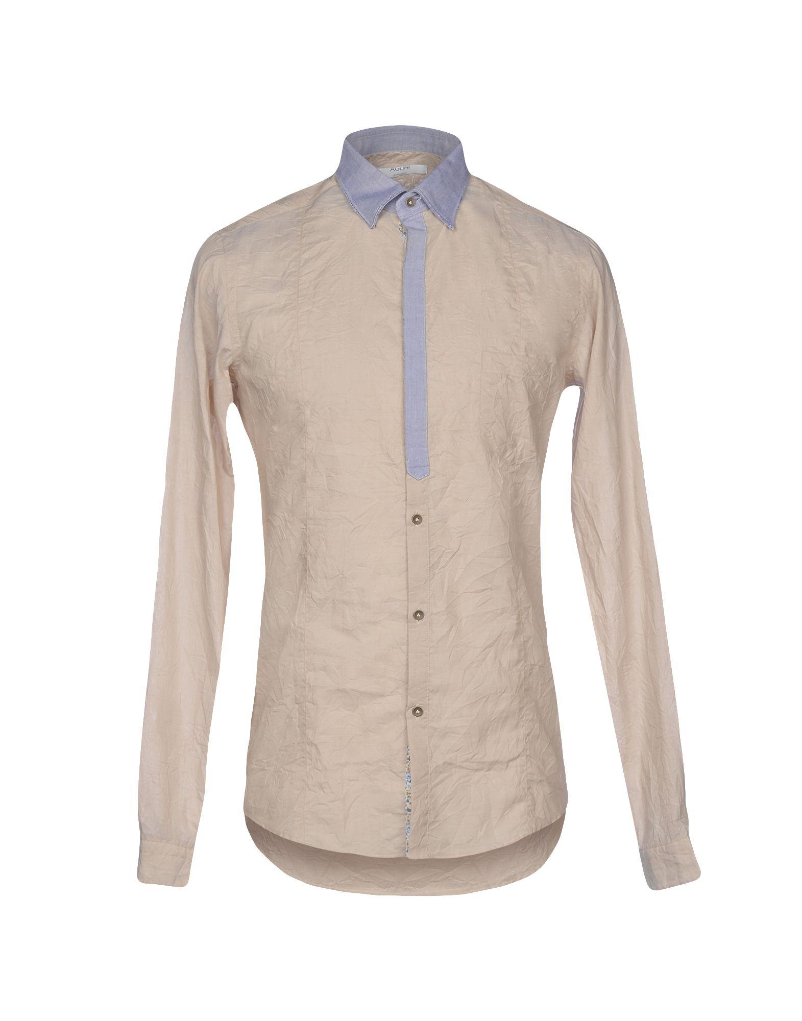 メンズ AGLINI シャツ ライトグレー