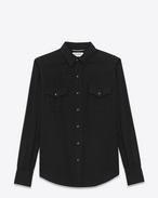 SAINT LAURENT Casual Shirts U CLASSIC WESTERN SHIRT IN Black Twill f