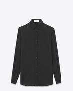 SAINT LAURENT Chemises classiques D Chemise à col Paris en soie noire à petits pois ivoire f