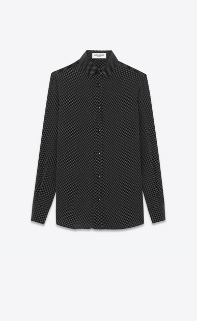 SAINT LAURENT Classic Shirts D PARIS COLLAR SHIRT IN Black and Ivory Micro Polka Dot Printed Silk a_V4