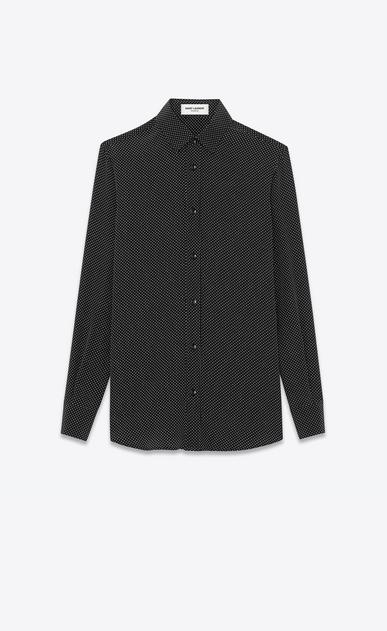 SAINT LAURENT Chemises classiques D Chemise à col Paris en soie noire à petits pois ivoire a_V4