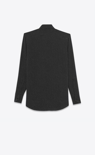 SAINT LAURENT Chemises classiques D Chemise à col Paris en soie noire à petits pois ivoire b_V4