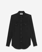 YSL 70s Western Shirt in Black Rinse Lyocell Twill