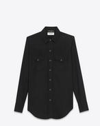 SAINT LAURENT Western Shirts D YSL 70s Western Shirt in Black Rinse Lyocell Twill f