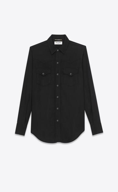 SAINT LAURENT Western Shirts D YSL 70s Western Shirt in Black Rinse Lyocell Twill a_V4