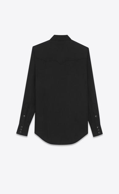 SAINT LAURENT Western Shirts D YSL 70s Western Shirt in Black Rinse Lyocell Twill b_V4