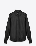 SAINT LAURENT Classic Shirts D Flare Collar Shirt in Black Leather f